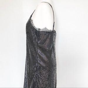 H&M Dresses - H&M Black Sequin Mini Dress with Lace Detail US 8